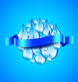 Sphere from water drops and ribbon for text blue vector image vector image