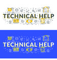 technical help flat line concept for web banner vector image vector image