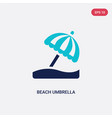 two color beach umbrella icon from accommodation vector image