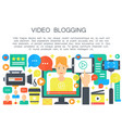 video blogger cartoon flat concept computer vector image vector image