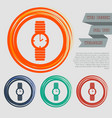 watch icon on red blue green orange buttons vector image vector image