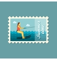 Water skiing stamp Summer Vacation vector image vector image