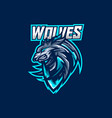 wolves esport gaming mascot logo template vector image vector image