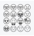 cute line black circle emoticons set vector image