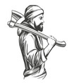 a bearded man in hoodie holds an axe on his vector image vector image