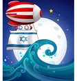 A floating balloon with the flag of Israel vector image vector image
