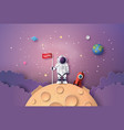 astronaut with flag on the moon vector image vector image