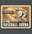baseball sport retro poster with catcher in helmet vector image vector image