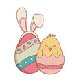 beautitul eggs painted with ears rabbit and chick vector image