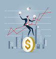 businessman trying to stand a dollar coin on a vector image vector image