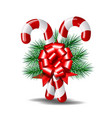 christmas candy canes with red bow isolated on vector image vector image