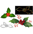 Christmas holly berries and leaves