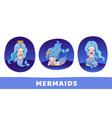 collection of cute cartoon princess mermaids vector image vector image