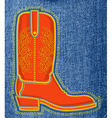 Cowboy shoe on blue jeans background boot symbol vector image