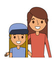 cute mom embracing her teen daughter vector image