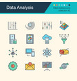 data analysis icons filled outline design vector image
