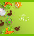 easter card 3d chocolate bunny and color eggs vector image