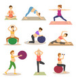 fitness pregnancy pregnant woman character vector image