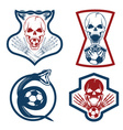 football team crests set with snake and skulls vector image