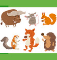 funny cartoon wild animal characters collection vector image vector image