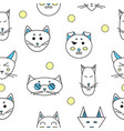 funny cats seamless texture vector image vector image