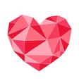 Geometrical red heart triangle shape vector image