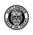 halloween vintage round emblem badge label vector image vector image