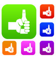 hand holding bottle of beer set collection vector image