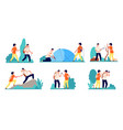 hiking characters people hike logging travel vector image vector image