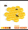 Isometric sweet honeycomb and bees raw honey