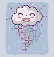 kawaii happy cloud with stars rainbow vector image