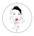 lovely female face beauty icon vector image