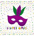 mardi gras poster with purple carnival mask vector image vector image