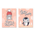 merry christmas greeting cards with penguin rabbit vector image vector image