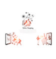 online shopping - people ordering vector image vector image