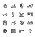parking sign black thin line icon set vector image vector image