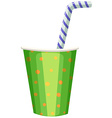 Party cup with striped straw vector image vector image