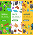 people sorting waste rubbish concept banner vector image vector image