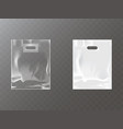 plastic packets with hand hole realistic vector image vector image