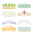 princess tiara jeweled ornamental royal crown set vector image vector image