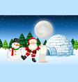 santa in winter landscape vector image vector image
