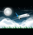 scene with airplane flying in night vector image vector image
