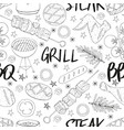 seamless pattern made from bbq elements barbecue vector image vector image