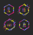 set frame hexagon shapes with modern dynamic vector image
