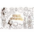 set of black and white on space theme space ship vector image vector image
