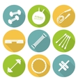 Set of flat icons of tools and accessories for vector image
