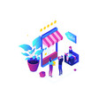 shopping online - modern colorful isometric vector image vector image