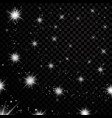 silver stars black night sky on transparent vector image