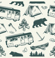 summer camping vintage seamless pattern vector image vector image