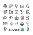 symbol of education online black thin line icon vector image vector image